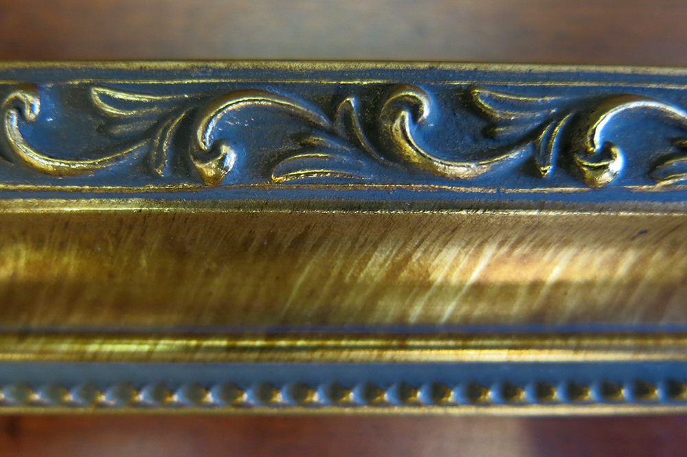 gold wood frame knight close up