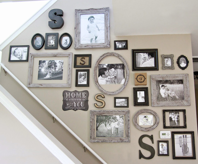 stairway gallery wall custom framing